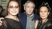 After the show, it's time to celebrate. Legendary playwright Edward Albee gets between leading lady Elizabeth Ashley and Me, Myself & I director Emily Mann.