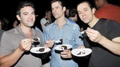 Let them eat cake! Jersey guys Jarrod Spector, Dominic Nolfi and Eric Bates dig in.