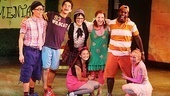 The smiling cast of Freckleface Strawberry gathers for their curtain call: Andrew Cristi, Joey Haro, Linda Gabler, Kimiko Glenn, Hayley Podschun, Mykal Kilgore and Jessica Bishop.