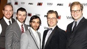 The dashing Bloody men: Darren Goldstein, Bryce Pinkham, Ben Steinfeld, Lucas Near-Verbrugghe and Jeff Hiller.