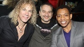 Hey, Gator! Mostly silent but charming cast member Derrick Baskin (r.) enjoys the festivities with David Bryan and Joe DiPietro.