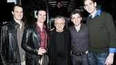 Frankie Valli gets between Broadway's Four Seasons: Matt Bogart, Dominic Nolfi, Jarrod Spector and Ryan Jesse.