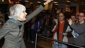 Tony winner Carol Channing waves to the excited crowd as she makes her entrance at Borders in NYC's Time Warner Center. 
