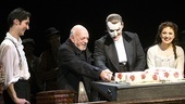 "Sean MacLaughlin, Hugh Panaro and Sara Jean Ford joint their director, Harold Prince, in cutting the first slice of ""23"" birthday cake."