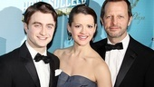 Let the opening night celebration begin! Stars Daniel Radcliffe and Rose Hemingway happily pose with their director, Rob Ashford.