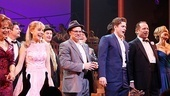 Catch Me If You Can stars Linda Hart, Kerry Butler, Norbert Leo Butz, Aaron Tveit, Tom Wopat and Rachel de Benedet acknowledge the audience's cheers on opening night.