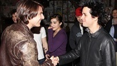 Backstage at the St. James Theatre, Tom Cruise congratulates Green Days Billie Joe Armstrong on his performance in American Idiot.