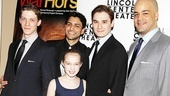 All smiles on opening night are War Horse cast members Zach Appleman, Sanjit De Silva, Madeleine Rose Yen, Seth Numrich and Austin Durant.