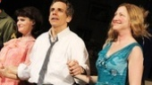 Jennifer Jason Leigh, Ben Stiller and Edie Falco step forward for their opening night curtain call in the Broadway revival of The House of Blue Leaves.