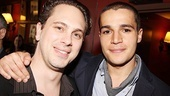 Thomas Sadoski enjoys the party with Christopher Abbott, who plays Ben Stiller's wayward son.