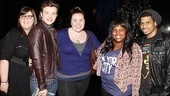 Sarah Bolt (Sister Mary Patrick, c.) and Chester Gregory (Eddie, r.) welcome Ashley Fink, Chris Colfer and Amber Riley to Broadway.