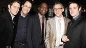 A playwright and his handsome stars: Steven Pasquale, Tony Kushner, K. Todd Freeman, Stephen Spinella and Michael Esper. 