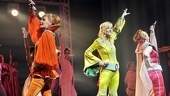 Donna and the Dynamos—also known as Mamma Mia! stars Judy McLane, Lisa Brescia and Jennifer Perry—strike a pose at the end of the show's 4,000th Broadway performance.