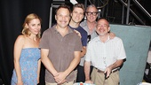 Catch Me leads Kerry Butler, Norbert Leo Butz and Aaron Tveit join co-lyricist Scott Wittman and composer and co-lyricist Marc Shaiman for a slice of cake marking the show's 100th performance.