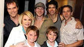 Spider-Man cast members Jeb Brown, Christopher Tierney, Craig Henningsen and Luther Creek help Joan Rivers and her grandson Cooper commemorate their visit to the show.