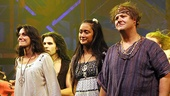 Caren Lyn Tackett, Kaitlin Kiyan and Josh Lamon show their emotions during the curtain call.