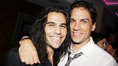 A tale of two Bergers: Current star Steel Burkhardt gets a hug from Priscilla's Will Swenson, who originated the role of Hair's randy ringmaster.