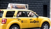 """Taxi!"" Just after 9:00 AM, Hair stars Paris Remillard and Matt DeAngelis hop in a cab and head to Citi Field."