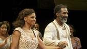 Porgy and Bess stars Audra McDonald and Norm Lewis step out to thunderous applause at the show's curtain call.