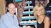 After the performance, John Hemphill (Sam) and Lisa Brescia (Donna) strike a bridal pose in front of a tiered tray of Mamma Mia! cupcakes.