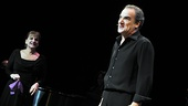 "Mandy Patinkin delights the crowd with his encore, Kander & Ebb's ""Coffee in a Cardboard Cup,"" as Patti LuPone looks on."