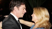 Former The Pajama Game co-star Kelli O'Hara gives Harry Connick Jr. a congratulatory hug.