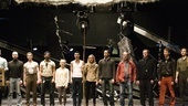 Michael Morpurgo and the company of War Horse rehearse the show's powerful opening number.