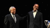 "Samuel L. Jackson is all smiles as Reverend Al Sharpton leads the crowd in singing ""Happy Birthday."""