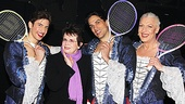 It's a hit! Billie Jean King teaches Priscilla stars Nick Adams, Will Swenson and Tony Sheldon how to swing a racket.