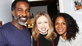 First Daughter Alert! Norm Lewis and Audra McDonald roll out the red carpet for NBC correspondent Chelsea Clinton.