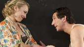 Sarah Goldberg as Alison Porter and Adam Driver in Look Back in Anger.