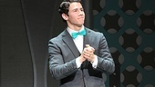 Broadway's newest J. Pierrepont Finch, Nick Jonas, looks out at his cheering audience.