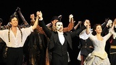 Kyle Barisich (Raoul), Hugh Panaro (the Phantom) and Trista Moldovan (Christine) lead the Phantom cast in the show&#39;s 10,000th Broadway bow.