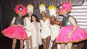 Speaking of eye-popping headgear, star deejays Scott Shannon (l.) and Todd Pettengill (r.) bravely took the stage for a cameo appearance, then posed with Gloria Estefan and Priscilla Divas Lisa Howard, Jacqueline B. Arnold and Anastacia McCleskey.