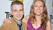 Tribes playwright Nina Raine puts an arm around director David Cromer on the red carpet.