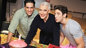 Priscilla leads Will Swenson, Tony Sheldon and Nick Adams gather to blow out a birthday candle on their luscious-looking glazed raspberry pie.