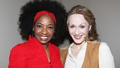 "Adriane Lenox wishes Jan Maxwell luck before Maxwell takes the stage to perform ""Confrontation"" from Jekyll & Hyde."