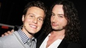Jonathan Groff rocks out backstage with Constantine Maroulis.