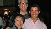 Come Fly Away star Christopher Vo celebrates opening night with guests Lily Weiss, the dance coordinator at the Arts Magnet High School in Dallas, and Charles Santos, the dance and music presenter in Dallas through TITAS.