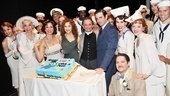 Julie Halston, Stephanie J. Block, Bernadette Peters, Colin Donnell and the cast of Anything Goes are ready to help Joel Grey cut the cake!