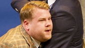 James Corden as Francis Henshall and Oliver Chris as Stanley Stubbers in One Man, Two Guvnors.