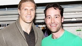 Clay Matthews meets cast member Michael Minarik backstage at the Helen Hayes Theatre.