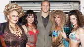 Lovely Rock of Ages ladies Michele Mais, Neka Zang, Katie Webber and Tessa Alves form a rock-and-roll huddle around Green Bay Packer Clay Matthews!