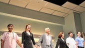 The full company of The Lyons savors their opening night curtain call: Brenda Pressley, Kate Jennings Grant, Dick Latessa, Linda Lavin, Michael Esper and Gregory Wooddell.