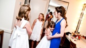 Laura Osnes bonds with her Von Trapp daughters, including Natalie Hawkins (Marta) and Charlotte Knutsen (Gretl). 