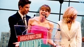 Celia Keenan-Bolger is overjoyed to receive the Audience Choice Award for Favorite Actress in a Play as presenters Nick Adams and Judith Light look on.