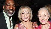 Nominees Norm Lewis (Porgy and Bess) and Tracie Bennett (End of the Rainbow) are congratulated by previous Distinguished Performance winner Rosemary Harris.