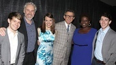 Newsies stars Andrew Keenan-Bolger, John Dossett, Kara Lindsay, Capathia Jenkins and Ben Fankhauser strike a pose with Disney Theatrical Group president Thomas Schumacher (center).