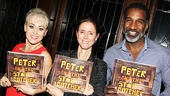 Whats a book party without a book? Starry guests Tracie Bennett (End of the Rainbow), Julie Taymor (director of the Disney mega-hit The Lion King) and Norm Lewis (Porgy and Bess) show off the colorful script of Peter and the Starcatcher.