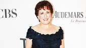 It's Tadashi Shoji again, this time a lovely navy tiered gown on future Tony winner Judy Kaye (Nice Work If You Can Get It), accompanied by Verdura jewelry.